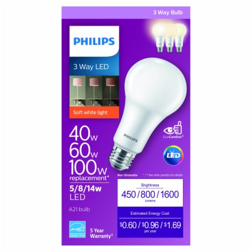 Philips 5/8/14-Watt (40/60/100-Watt) A21 LED Light Bulb Perspective: front