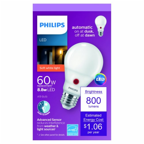 Philips 8.8-Watt (60-Watt) A19 Outdoor LED Light Bulb Perspective: front