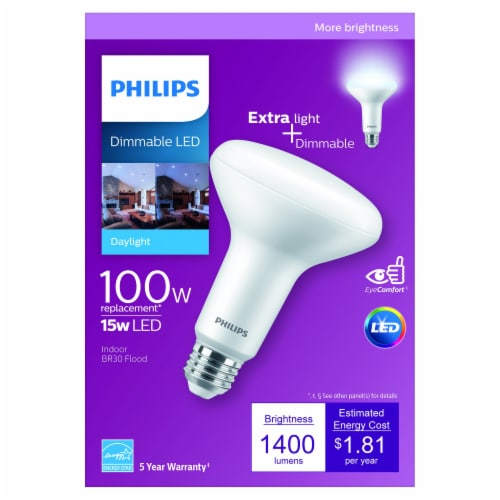 Philips 15-Watt (100-Watt) Flood BR30 Indoor Dimmable LED Light Bulb Perspective: front