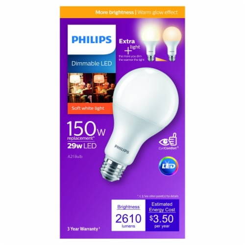 Philips 29-Watt (150-Watt) A21 Dimmable LED Light Bulb Perspective: front