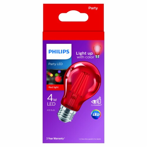 Philips 4-Watt A19 Party LED Light Bulb - Red Perspective: front
