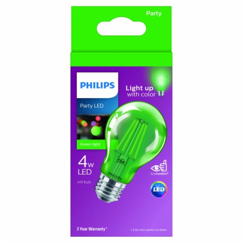 Philips 4-Watt A19 Party LED Light Bulb - Green Perspective: front