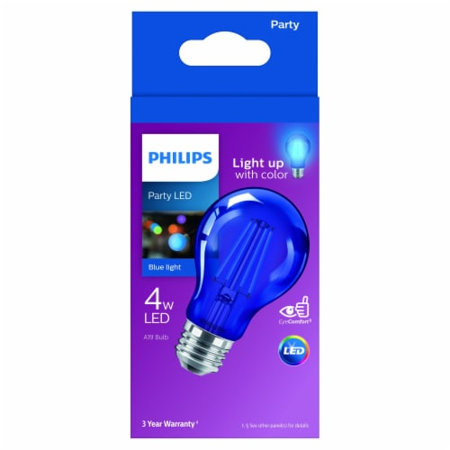 Philips 4-Watt A19 Party LED Light Bulb - Blue Perspective: front