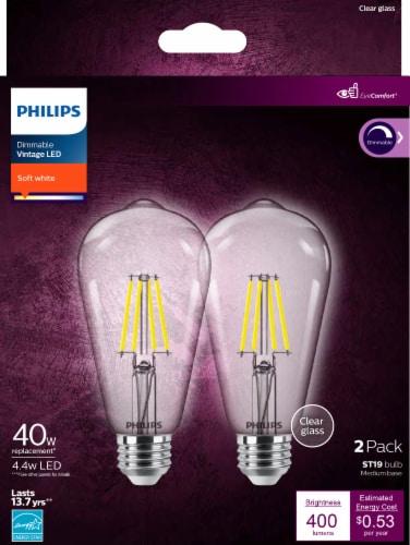 Philips 4.4-Watt (40-Watt) Medium Base ST19 Vintage LED Light Bulbs Perspective: front