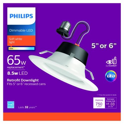 Philips 8.5-Watt (65-Watt) Retrofit Downlight LED Soft White Light Bulb Perspective: front
