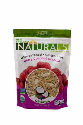 New England Naturals  Organic Gluten Free Unsweetened Granola   Berry Coconut Perspective: front