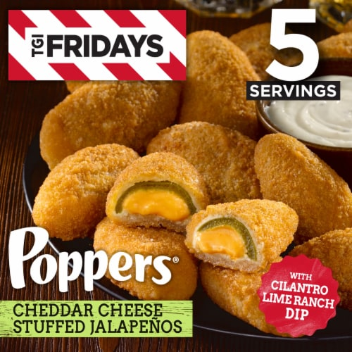 TGI Fridays Cheddar Cheese Stuffed Jalapeno Poppers Perspective: front