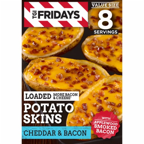 TGI Fridays Cheddar & Bacon Loaded Potato Skins Frozen Appetizer Perspective: front