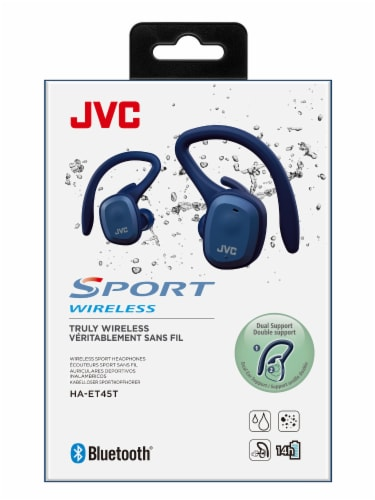 JVC Sport Truly Dual Ear Wireless Headphones - Blue Perspective: front