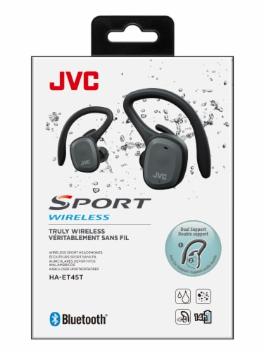 JVC Sport Truly Dual Ear Wireless Headphones - Black Perspective: front