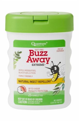 Quantum Health Deet Free Buzz Away Extreme Insect Repellent Towelettes Perspective: front