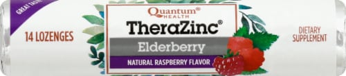 Quantum Health Thera Zinc Elderberry Raspberry Lozenges Perspective: front