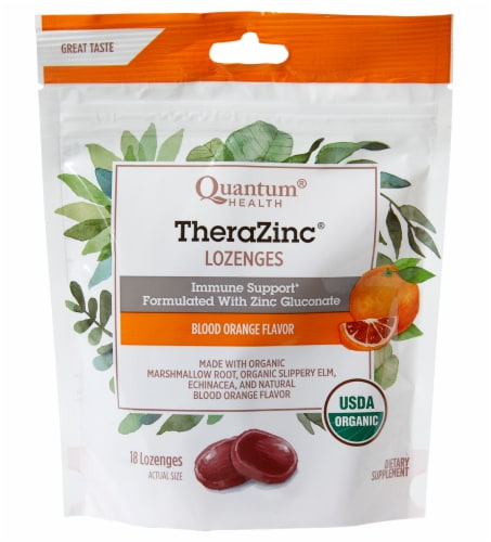 Quantum Health TheraZinc Blood Orange Lozenges Perspective: front