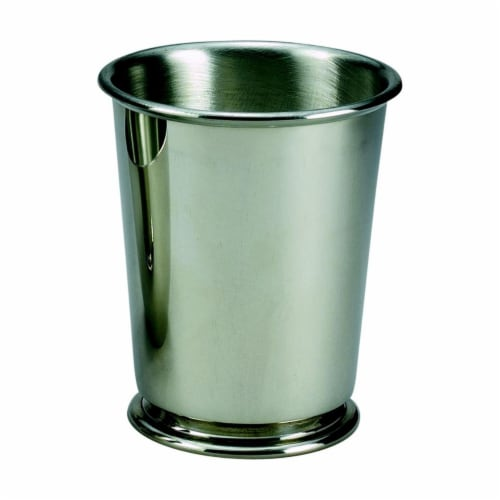 Creative Gifts International 021073 10 oz Pewter Mint Julep Cup with 3.75 in. - Green Perspective: front