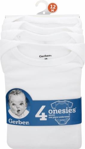 Gerber® Childrenswear Onesies® Babies Short-Sleeve Bodysuit - White - 4 Pack Perspective: front