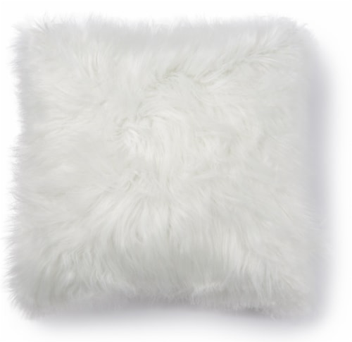 Brentwood Angora Faux Fur Decor Pillow - Ivory Perspective: front