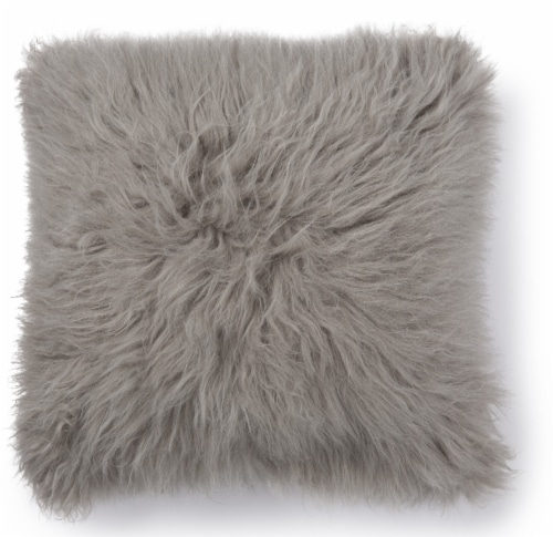 Brentwood Angora Faux Fur Decor Pillow - Gray Perspective: front