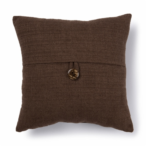 Brentwood Stafford Button Decor Pillow - Brown Perspective: front