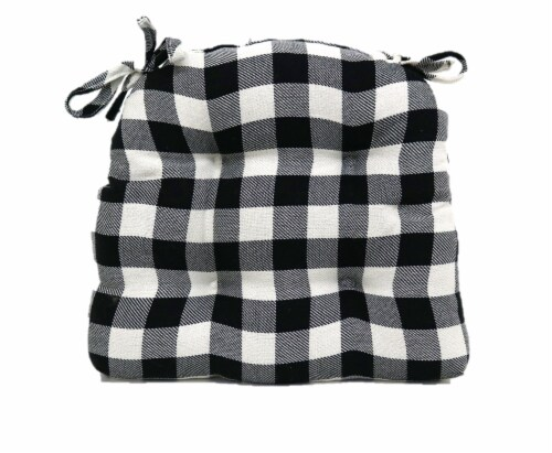 Brentwood Gingham Twill Buffalo Check Chair Pad - Black/White Perspective: front