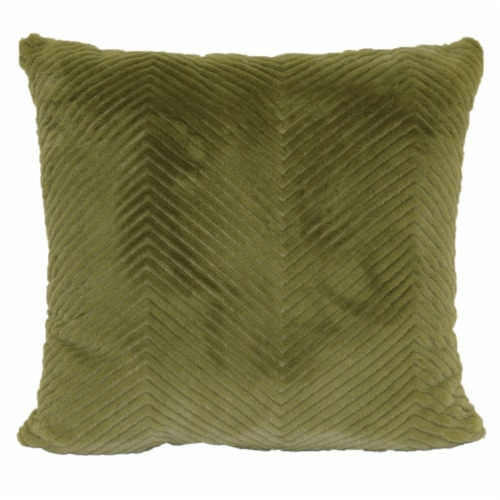 Brentwood Cheviot Faux Fur Decor Pillow - Green Perspective: front