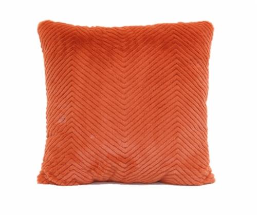 Brentwood Cheviot Faux Fur Decor Pillow - Tangerine Perspective: front