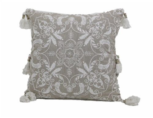 Brentwood Damask Embroidery Decor Pillow with Tassels Perspective: front