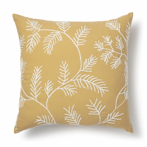 Brentwood Embroidered Leaves Decorative Pillow Perspective: front