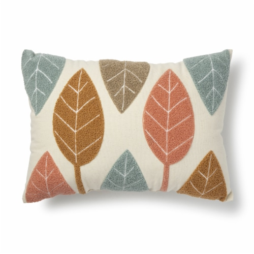 Brentwood Coral Leaves Embroidered Decorative Pillow Perspective: front