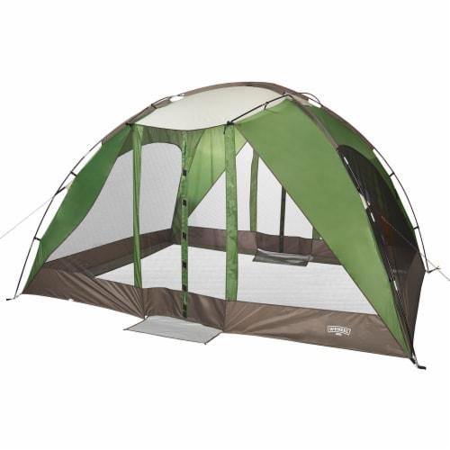 Wenzel Durango 120 Square Foot Magnetic Door Screen House Dome Tent, Green Perspective: front