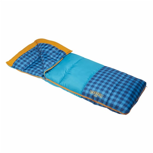 Wenzel Sapling 40 - 50 Degree Fahrenheit Kids Camping Sleeping Bag, Youth (Blue) Perspective: front