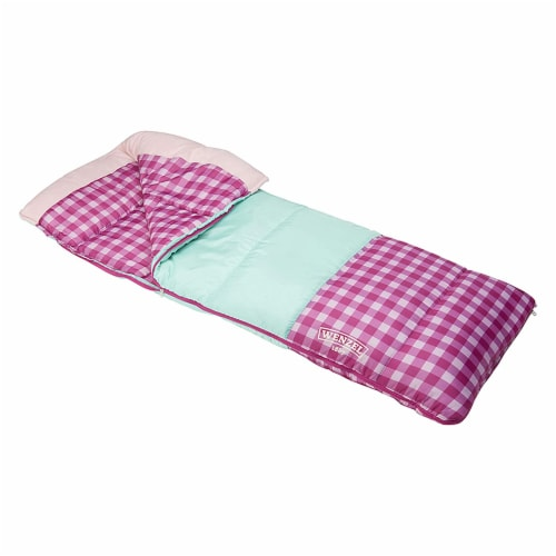 Wenzel Sapling 40 - 50 Degree Fahrenheit Kids Camping Sleeping Bag, Youth (Pink) Perspective: front