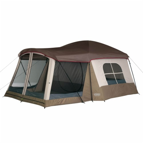 Wenzel Klondike Large Outdoor 8 Person Camping Tent with Screen Room, Brown Perspective: front