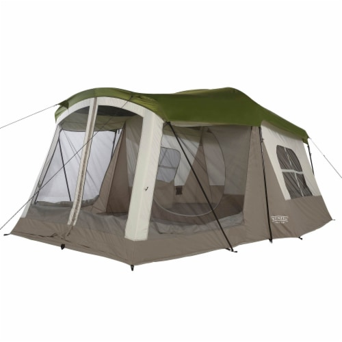 Wenzel Klondike Large Outdoor 8 Person Camping Tent with Screen Room, Green Perspective: front
