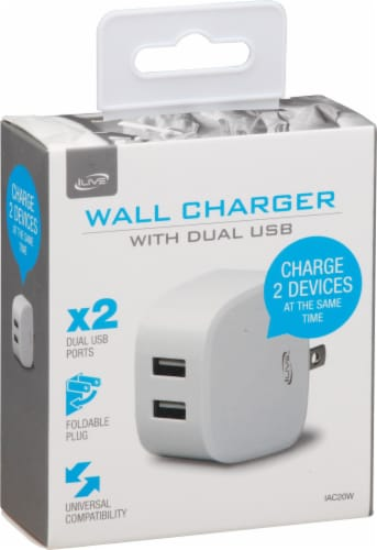 iLive AC to Dual USB Wall Charger - White Perspective: front