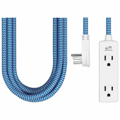 iLive 3-Outlet Fabric Power Cord Perspective: front