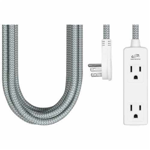 iLive 3-Outlet Fabric Power Cord - White Perspective: front