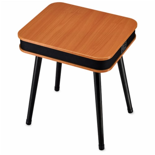 Square Speaker End Table - Brown Perspective: front