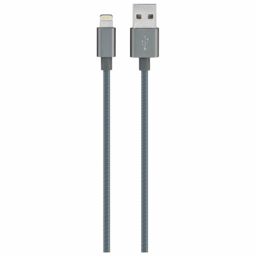 iLive Fabric Lightning Charging Cable - Gray Perspective: front