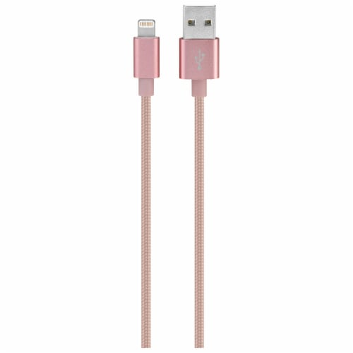 iLive Fabric Lightning Charging Cable - Pink Perspective: front