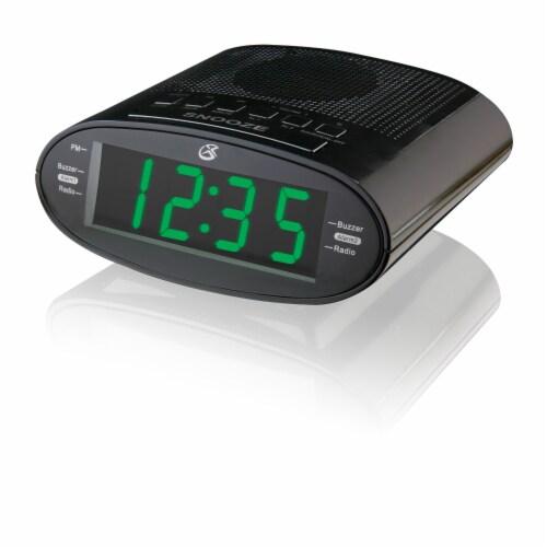 GPX C303B Dual Alarm Clock Radio - Black Perspective: front