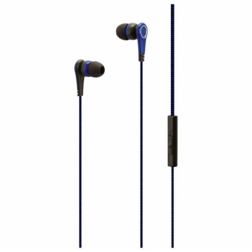 iLive Wired Mic and Volume Control Earbuds - Blue Perspective: front