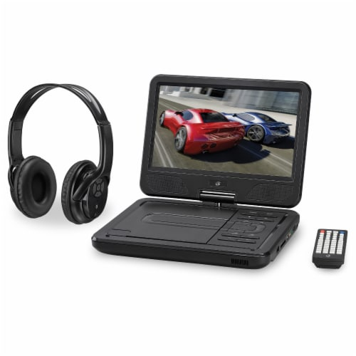 GPX Portable DVD Player with Bluetooth Headphones Perspective: front