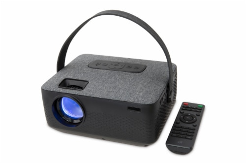 GPX Rechargable Bluetooth Projector - Gray/Black Perspective: front