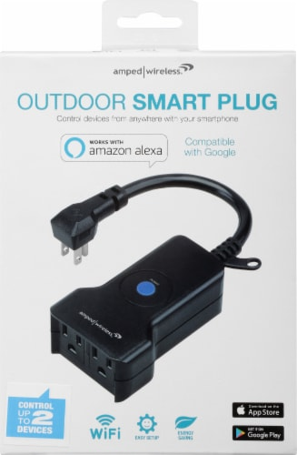 Amped Wireless 2 Socket Outdoor Smart Plug Perspective: front