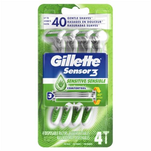 Gillette Sensor3 Sensitive Men's Disposable Razors Perspective: front