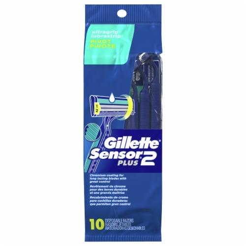 Gillette Sensor2 Plus Pivoting Head Men's Disposable Razors Perspective: front