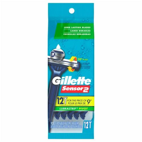 Gillette Sensor2 Pivoting Head + Lubrastrip Men's Disposable Razors Perspective: front