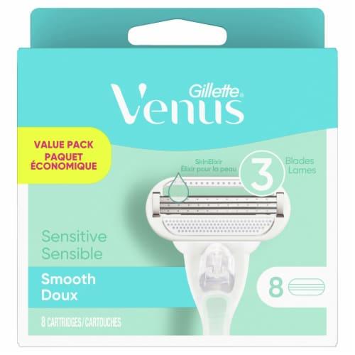Gillette Venus Sensitive Smooth Skin Elixir Razor Cartridges Value Pack Perspective: front