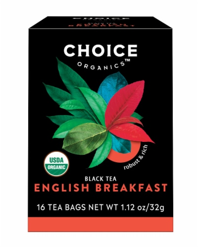Choice Organic English Breakfast Black Tea Bags Perspective: front