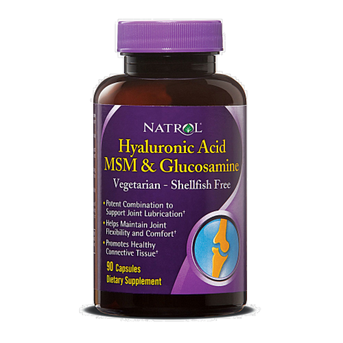 Natrol Hyaluronic Acid MSM & Glucosamine Capsules Perspective: front